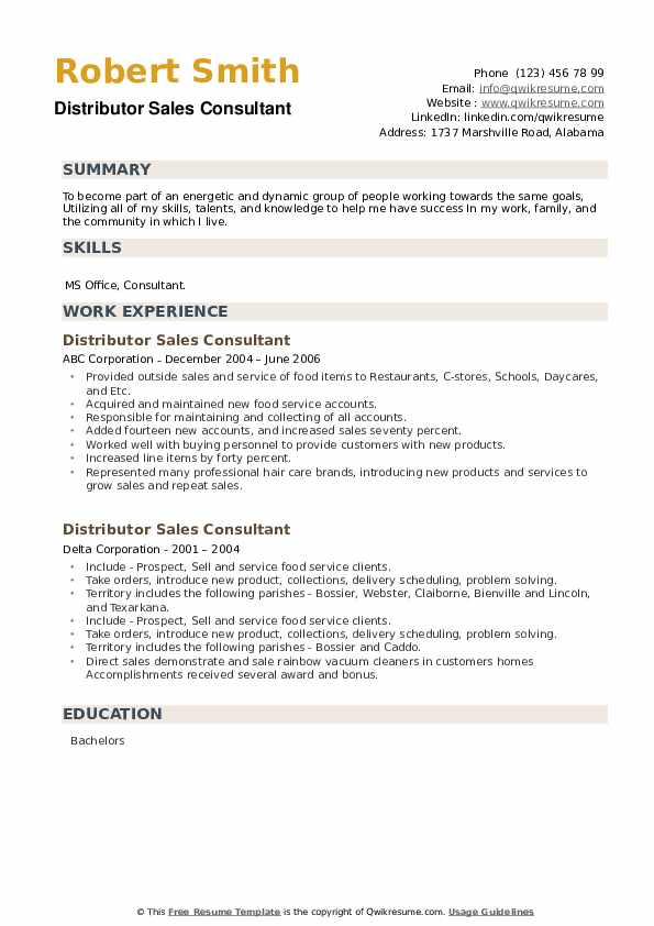 Distributor Sales Consultant Resume example