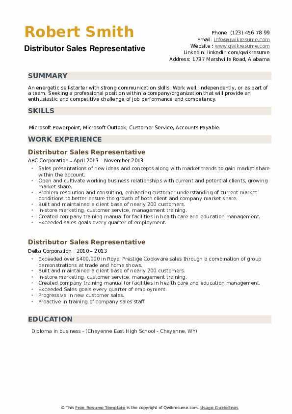 Distributor Sales Representative Resume example