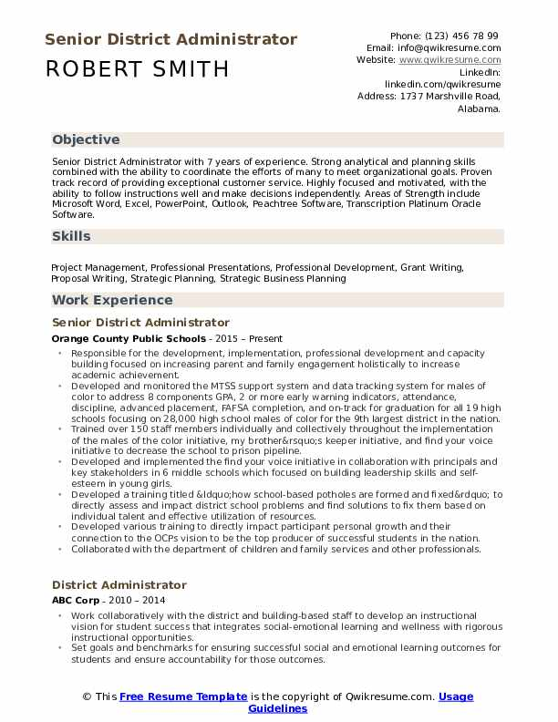 Senior District Administrator Resume Example