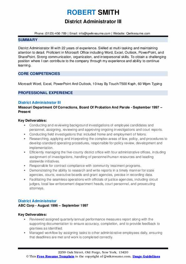 District Administrator III Resume Example