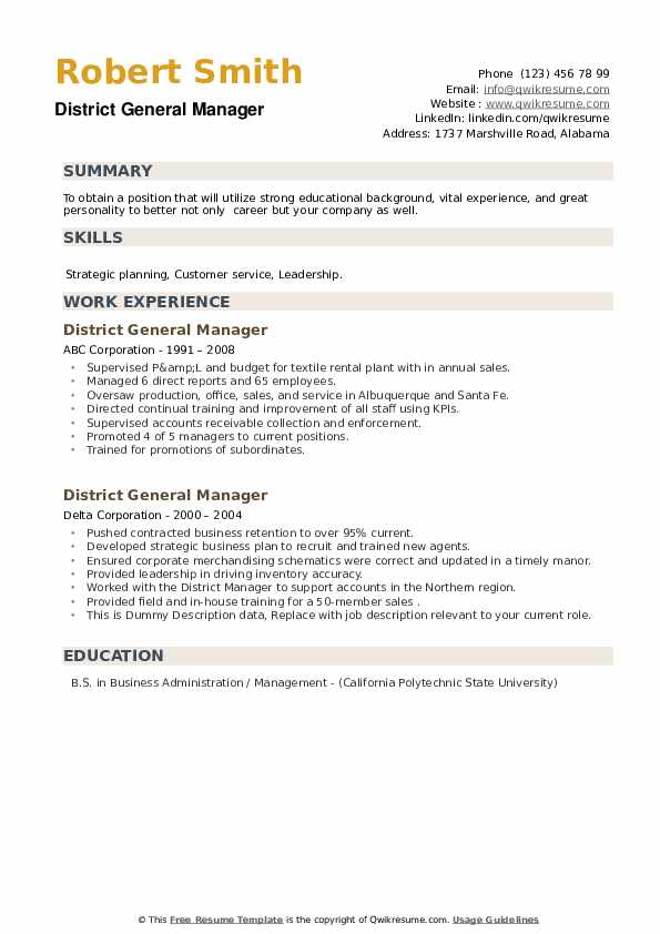 District General Manager Resume example