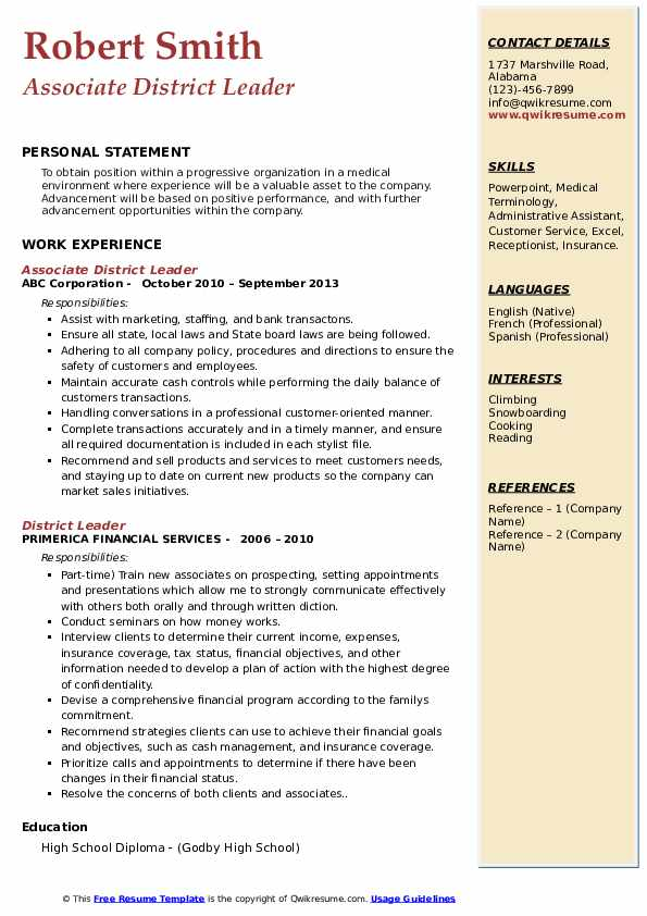 Associate District Leader Resume Example