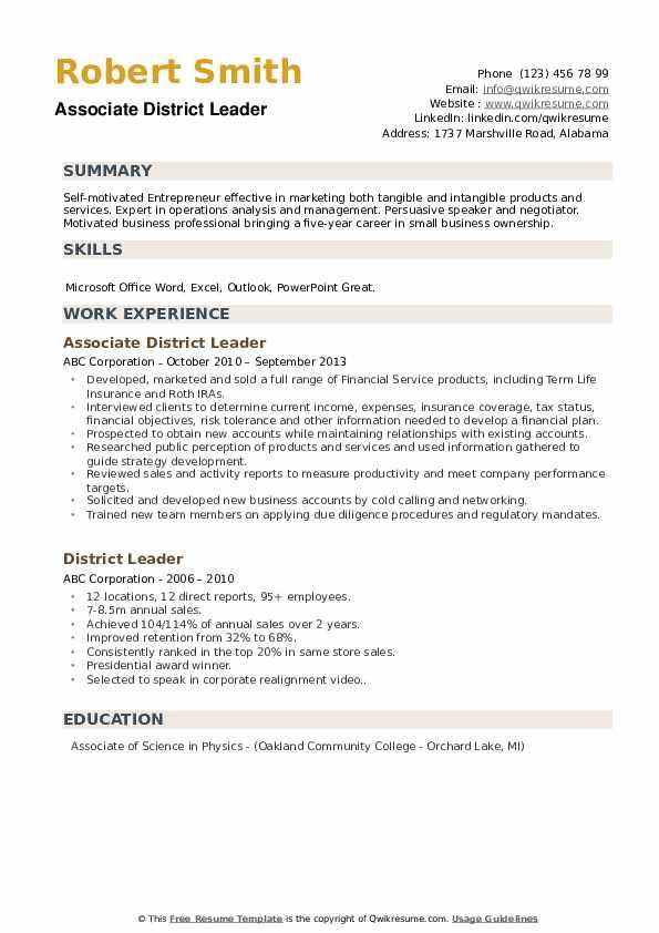 Associate District Leader Resume Model
