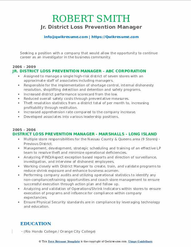 District Loss Prevention Manager Resume Samples Qwikresume