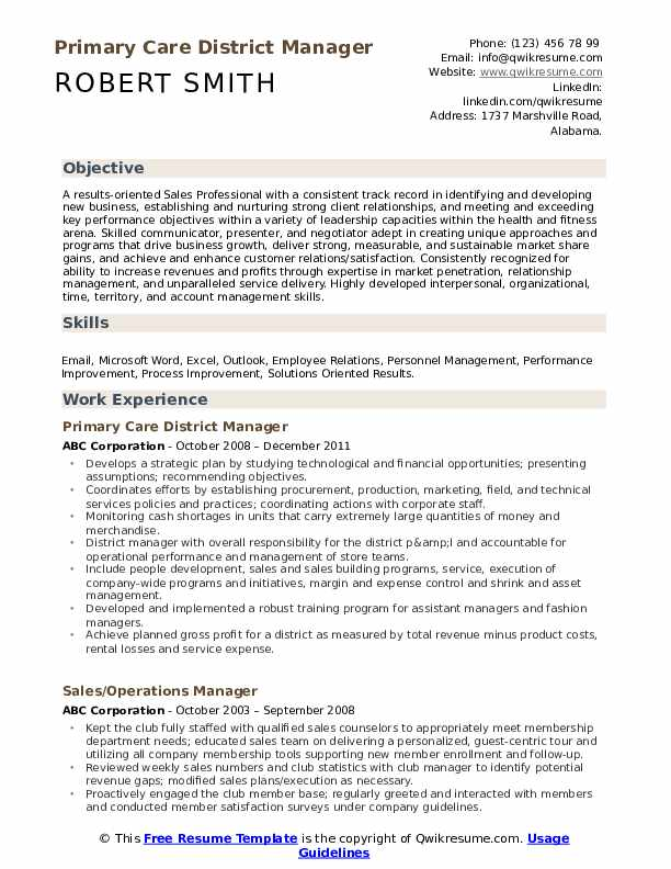 Primary Care District Manager Resume Model