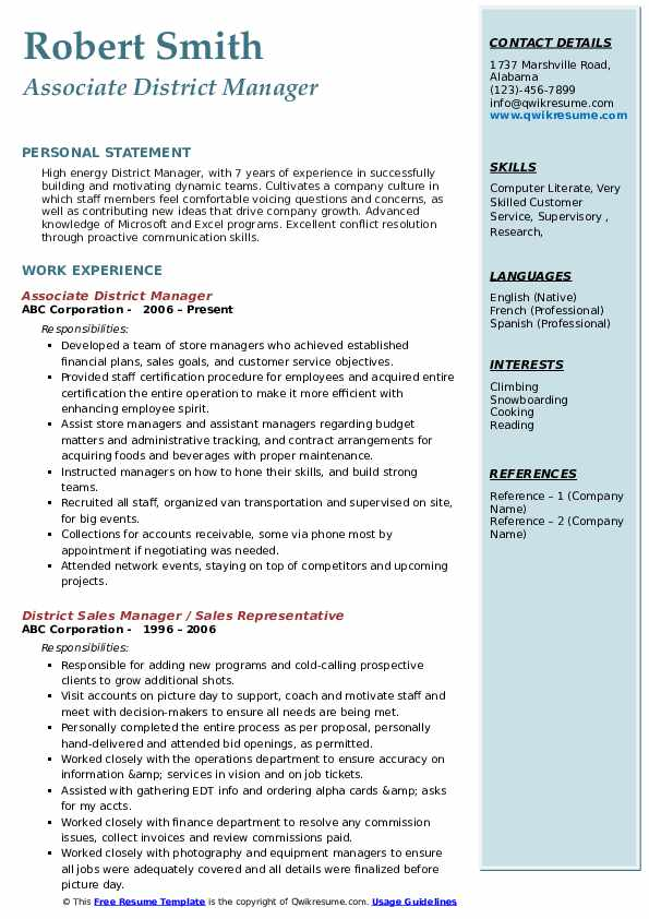 Associate District Manager Resume Format