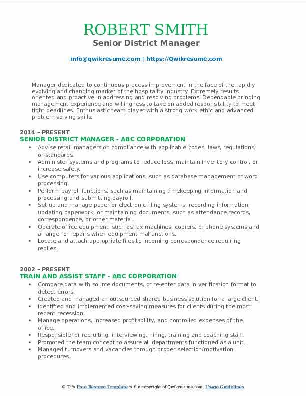 Senior District Manager Resume Model