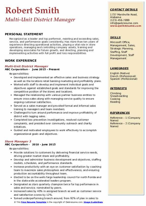 Multi-Unit District Manager Resume Model