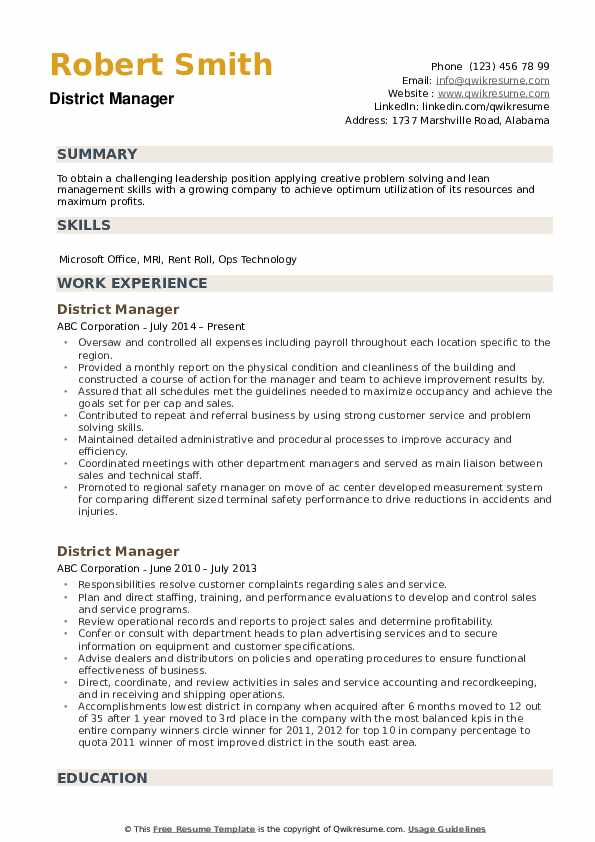 District Manager Resume Example