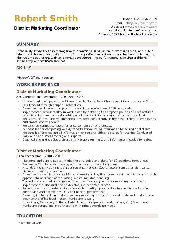 District Marketing Coordinator Resume example
