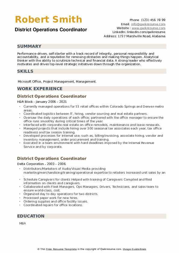 District Operations Coordinator Resume example