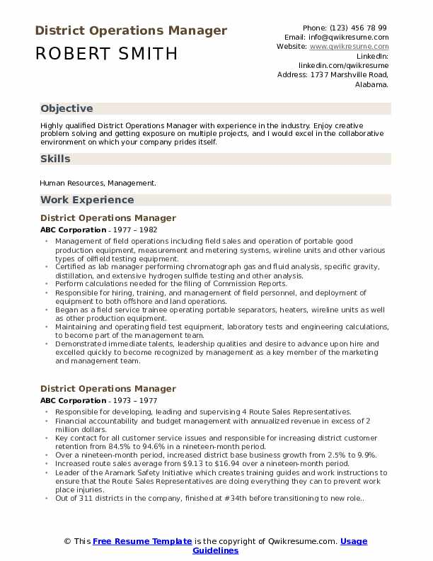 district operations manager resume samples