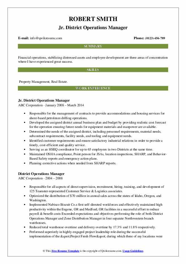 Jr. District Operations Manager Resume Sample