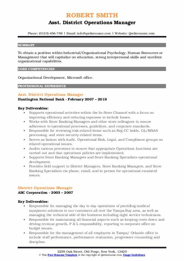 Asst. District Operations Manager Resume Example