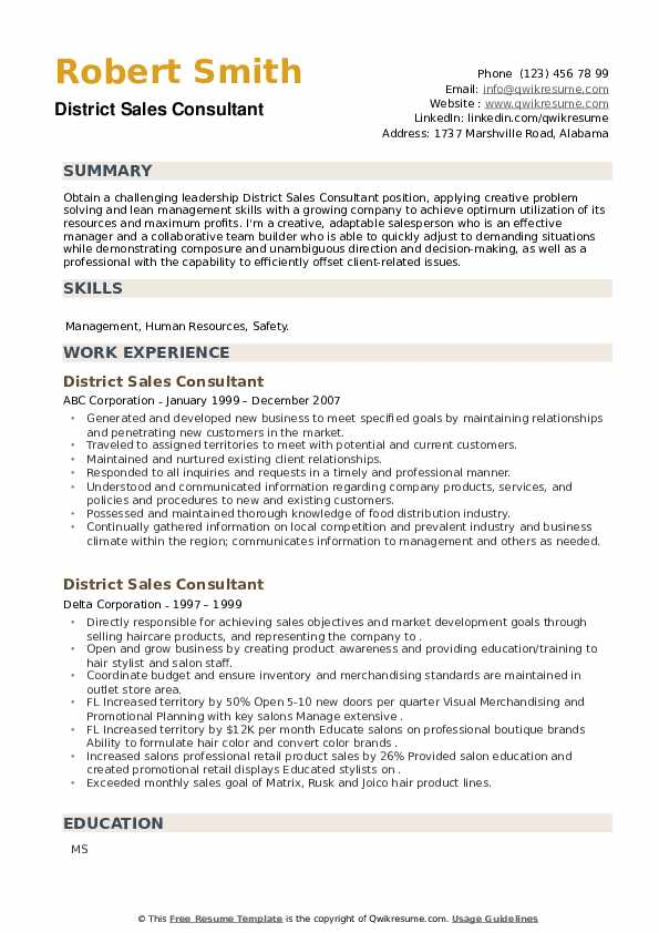 District Sales Consultant Resume example