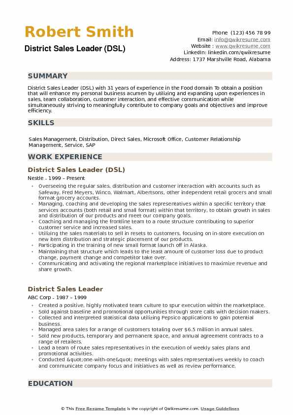 District Sales Leader Resume example