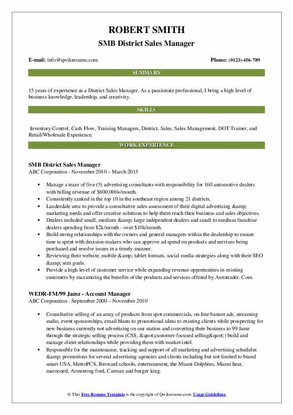 SMB District Sales Manager Resume Format