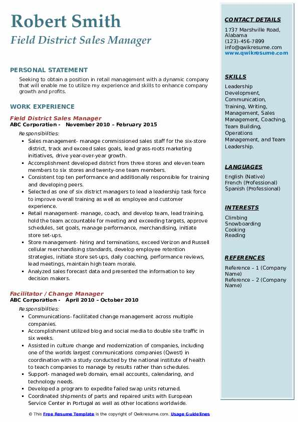 Field District Sales Manager Resume Example