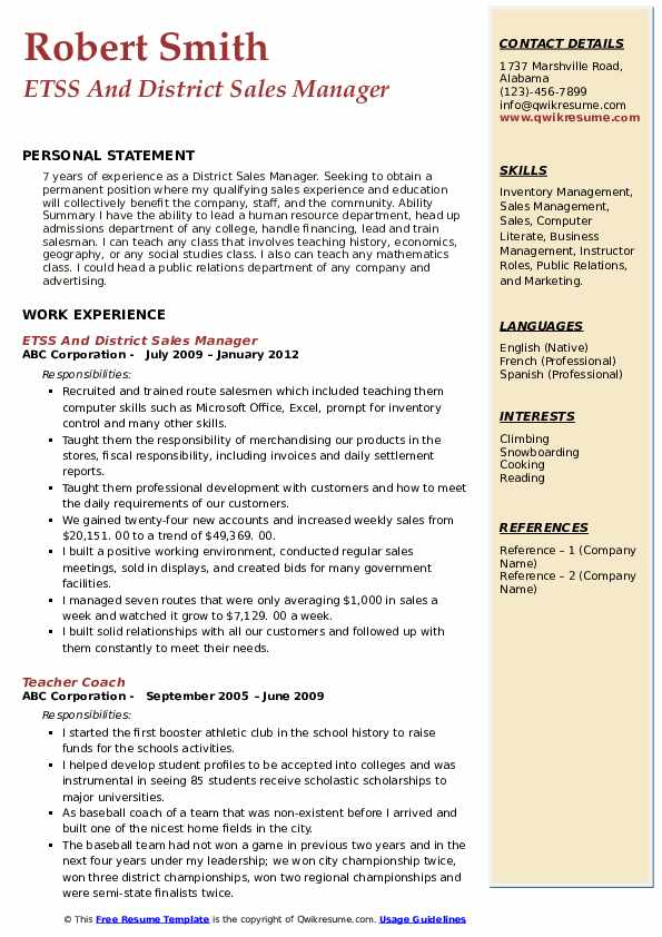 ETSS And District Sales Manager Resume Format