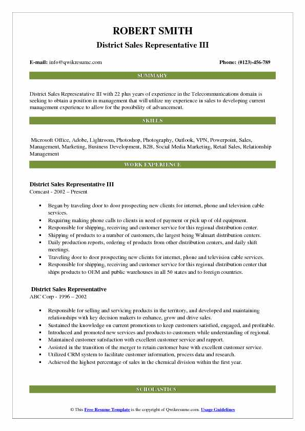district sales representative resume samples