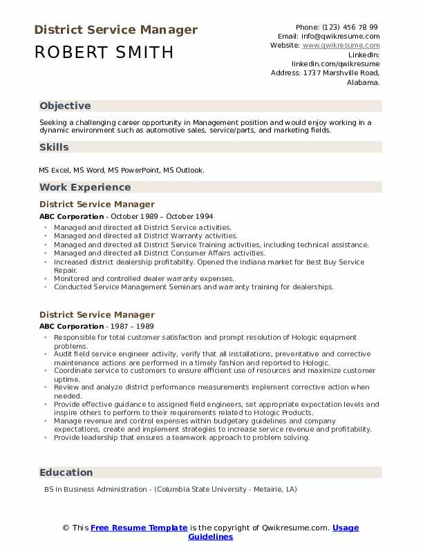 District Service Manager Resume example