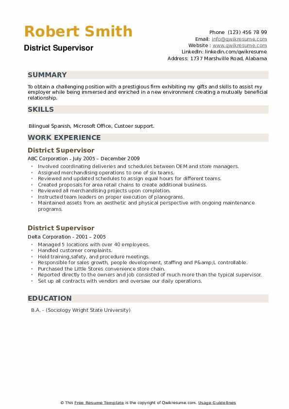 District Supervisor Resume example