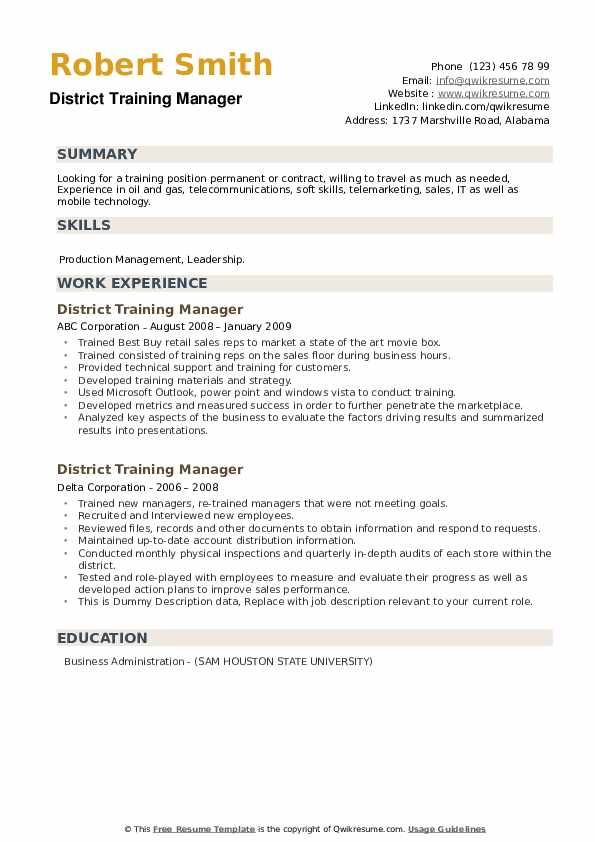 District Training Manager Resume example