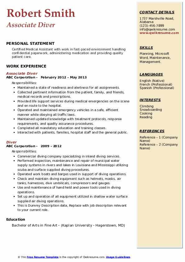 Diver Resume Examples | JobHero