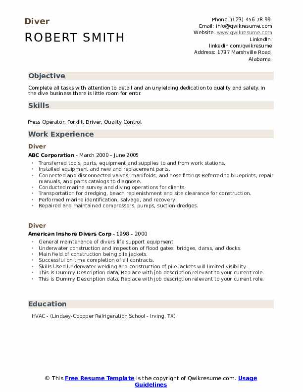 Diver Resume example