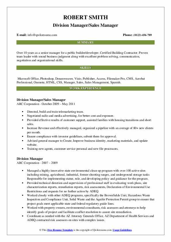 Division Manager/Sales Manager Resume Example