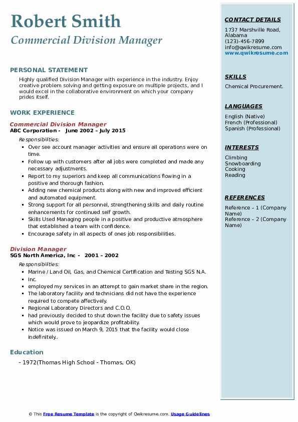 Commercial Division Manager Resume Example