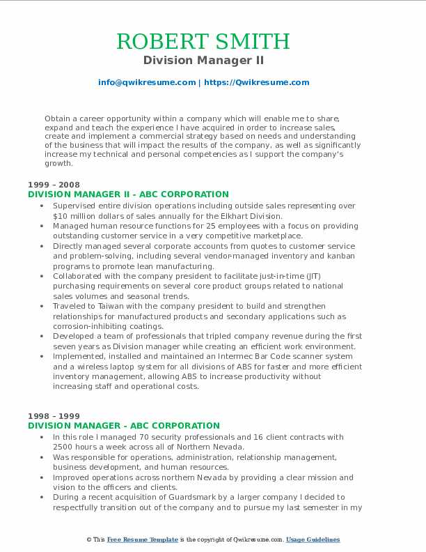 Division Manager II Resume Format
