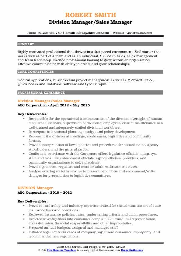 Division Manager/Sales Manager Resume Format