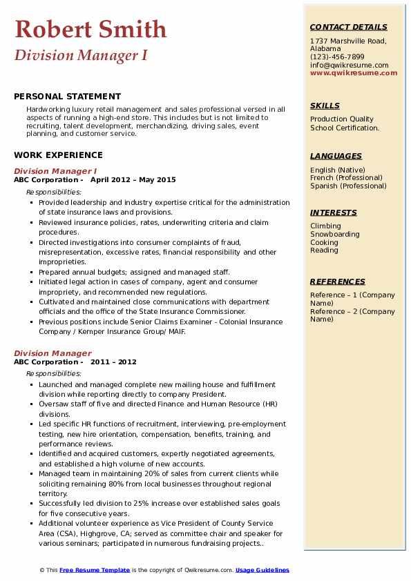 Division Manager I Resume Format