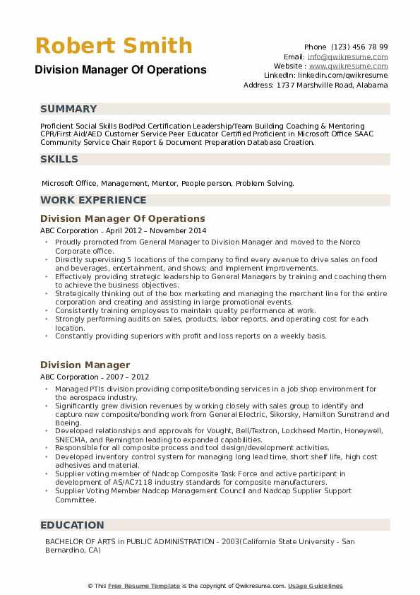 Division Manager Of Operations Resume Sample