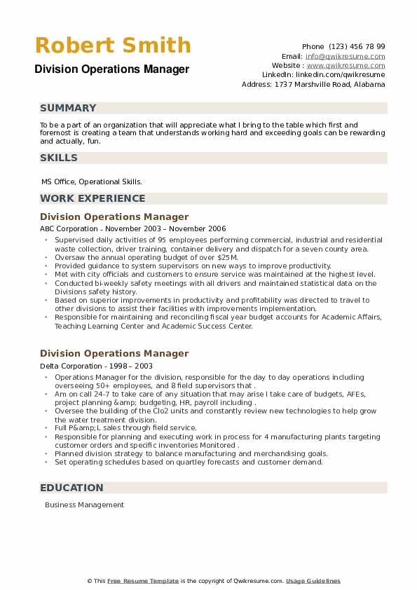 Division Operations Manager Resume example