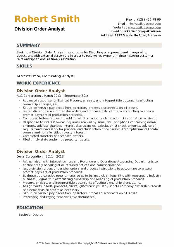 Division Order Analyst Resume example