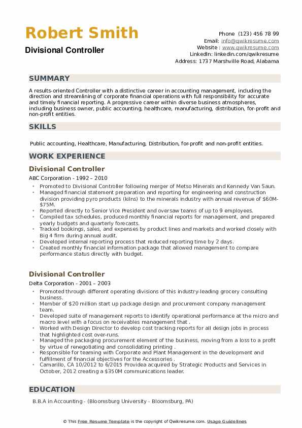Divisional Controller Resume example