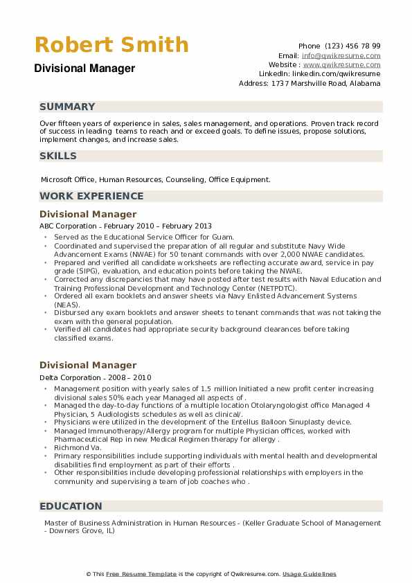 Divisional Manager Resume example