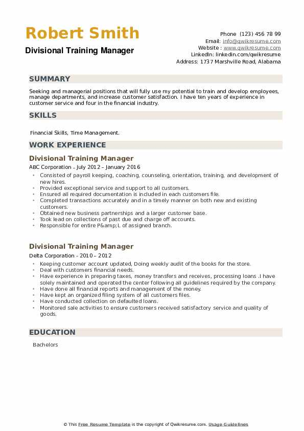 Divisional Training Manager Resume example
