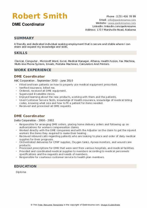 DME Coordinator Resume example