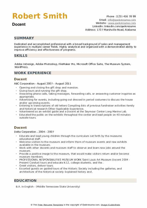 Docent Resume example