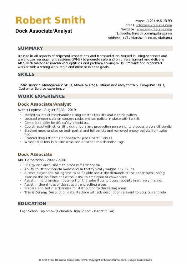 Dock Associate Resume example