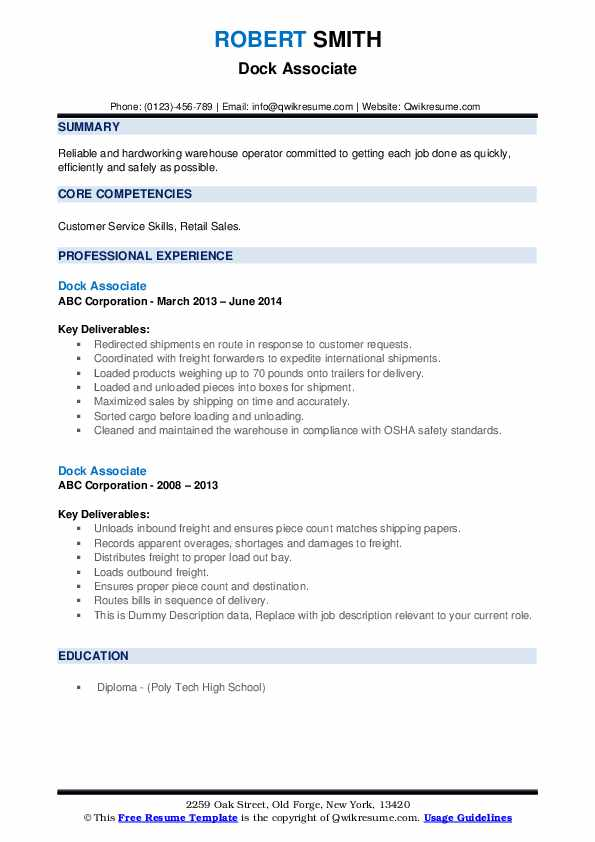 Dock Associate Resume example
