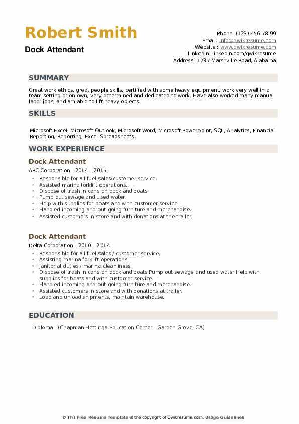 Dock Attendant Resume example
