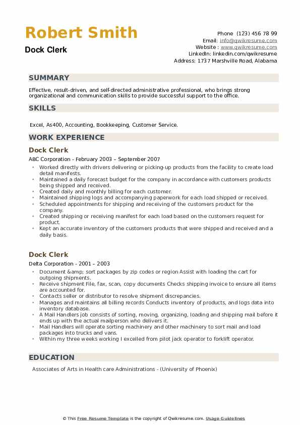 Dock Clerk Resume example