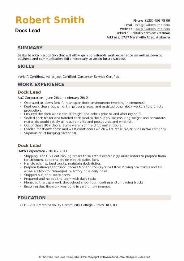 Dock Lead Resume example