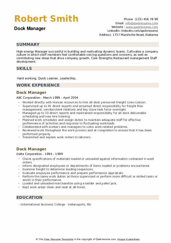 Dock Manager Resume example
