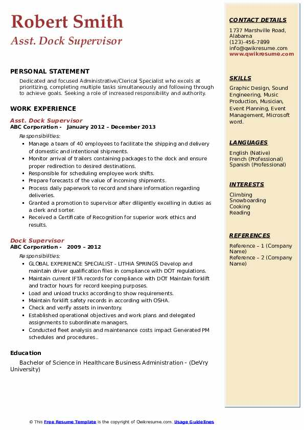 Dock supervisor resume