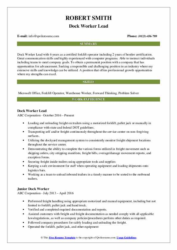 Dock Worker Lead Resume Sample